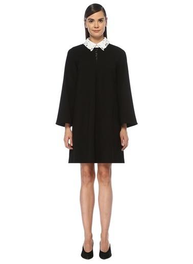 Beymen Club Yaka Detaylı Mini Krep Elbise Siyah